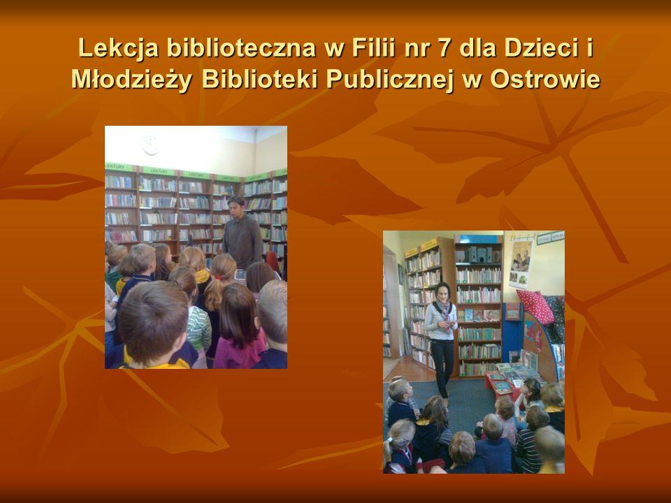 Lekcja biblioteczna w Filii nr 7 dla Dzieci i Młodzieży Biblioteki Publicznej w Ostrowie