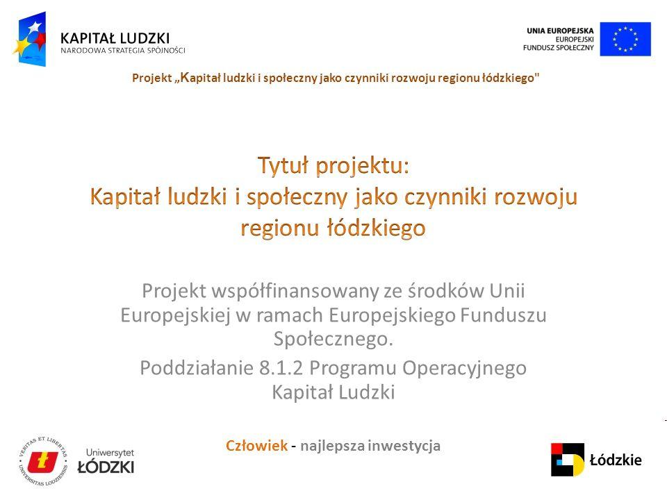 """Człowiek - najlepsza inwestycja Projekt """" K apitał ludzki i społeczny jako czynniki rozwoju regionu łódzkiego Projekt współfinansowany ze środków Unii Europejskiej w ramach Europejskiego Funduszu Społecznego."""
