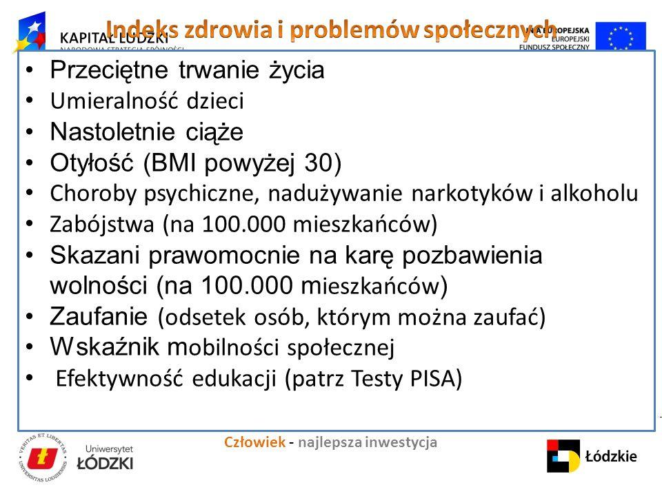 """Człowiek - najlepsza inwestycja Projekt """" K apitał ludzki i społeczny jako czynniki rozwoju regionu łódzkiego Przeciętne trwanie życia Umieralność dzieci Nastoletnie ciąże Otyłość (BMI powyżej 30) Choroby psychiczne, nadużywanie narkotyków i alkoholu Zabójstwa (na 100.000 mieszkańców) Skazani prawomocnie na karę pozbawienia wolności (na 100.000 m ieszkańców ) Zaufanie (odsetek osób, którym można zaufać) Wskaźnik m obilności społecznej Efektywność edukacji (patrz Testy PISA)"""