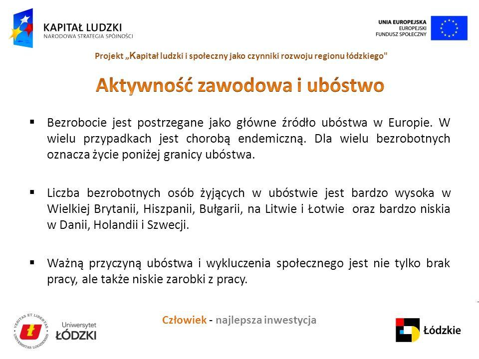 """Człowiek - najlepsza inwestycja Projekt """" K apitał ludzki i społeczny jako czynniki rozwoju regionu łódzkiego  Bezrobocie jest postrzegane jako główne źródło ubóstwa w Europie."""