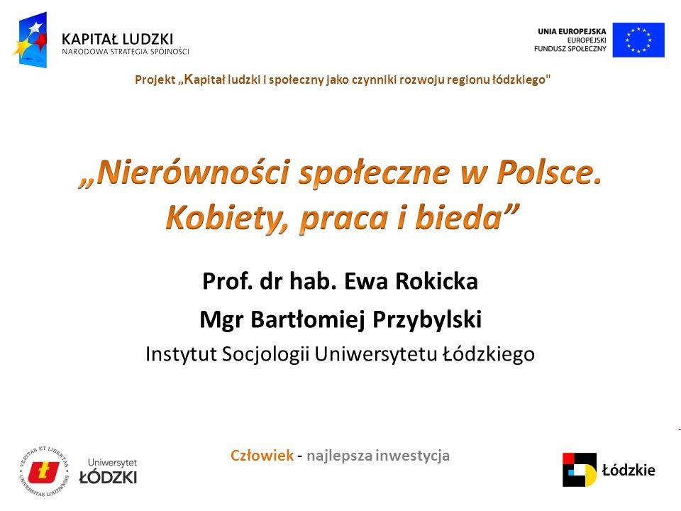 """Człowiek - najlepsza inwestycja Projekt """" K apitał ludzki i społeczny jako czynniki rozwoju regionu łódzkiego Prof."""
