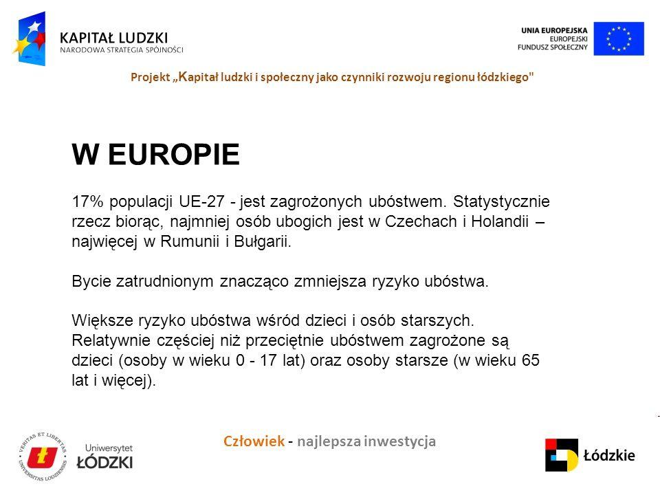 """Człowiek - najlepsza inwestycja Projekt """" K apitał ludzki i społeczny jako czynniki rozwoju regionu łódzkiego W EUROPIE 17% populacji UE-27 - jest zagrożonych ubóstwem."""