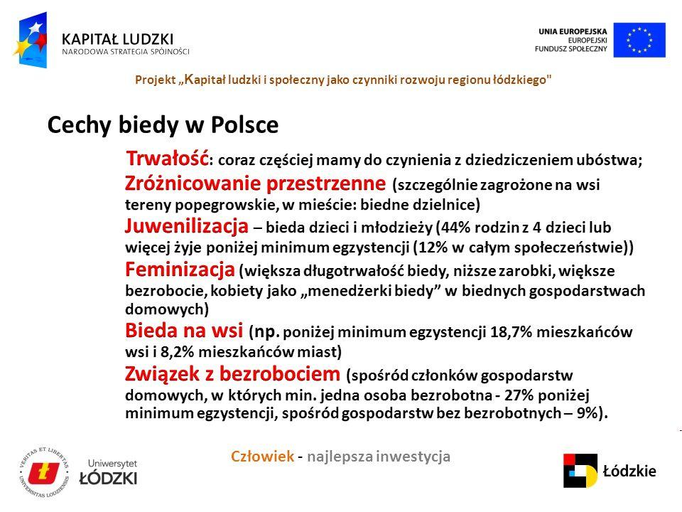 """Człowiek - najlepsza inwestycja Projekt """" K apitał ludzki i społeczny jako czynniki rozwoju regionu łódzkiego Cechy biedy w Polsce"""