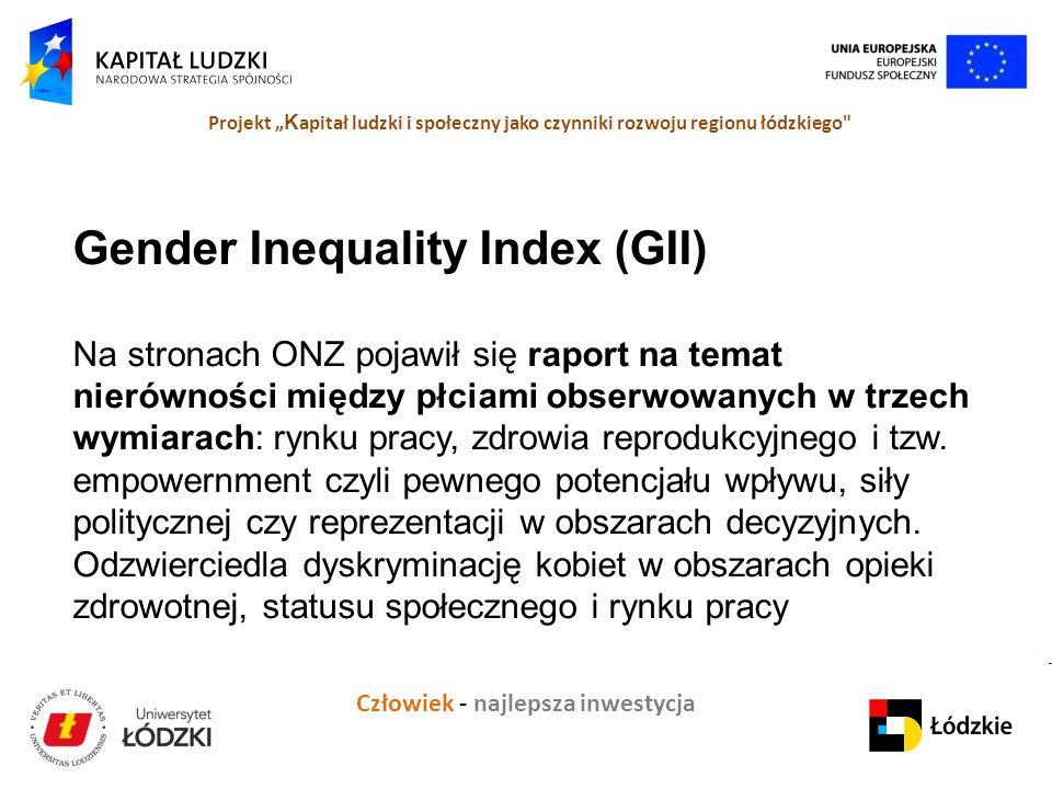 """Człowiek - najlepsza inwestycja Projekt """" K apitał ludzki i społeczny jako czynniki rozwoju regionu łódzkiego Gender Inequality Index (GII) Na stronach ONZ pojawił się raport na temat nierówności między płciami obserwowanych w trzech wymiarach: rynku pracy, zdrowia reprodukcyjnego i tzw."""