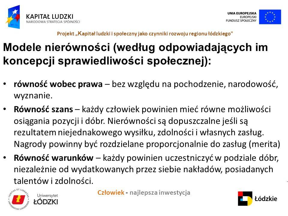 """Człowiek - najlepsza inwestycja Projekt """" K apitał ludzki i społeczny jako czynniki rozwoju regionu łódzkiego Modele nierówności (według odpowiadających im koncepcji sprawiedliwości społecznej): równość wobec prawa – bez względu na pochodzenie, narodowość, wyznanie."""