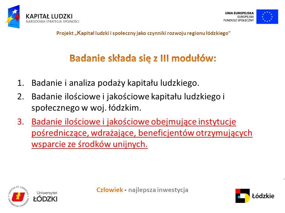 """Człowiek - najlepsza inwestycja Projekt """" K apitał ludzki i społeczny jako czynniki rozwoju regionu łódzkiego"""