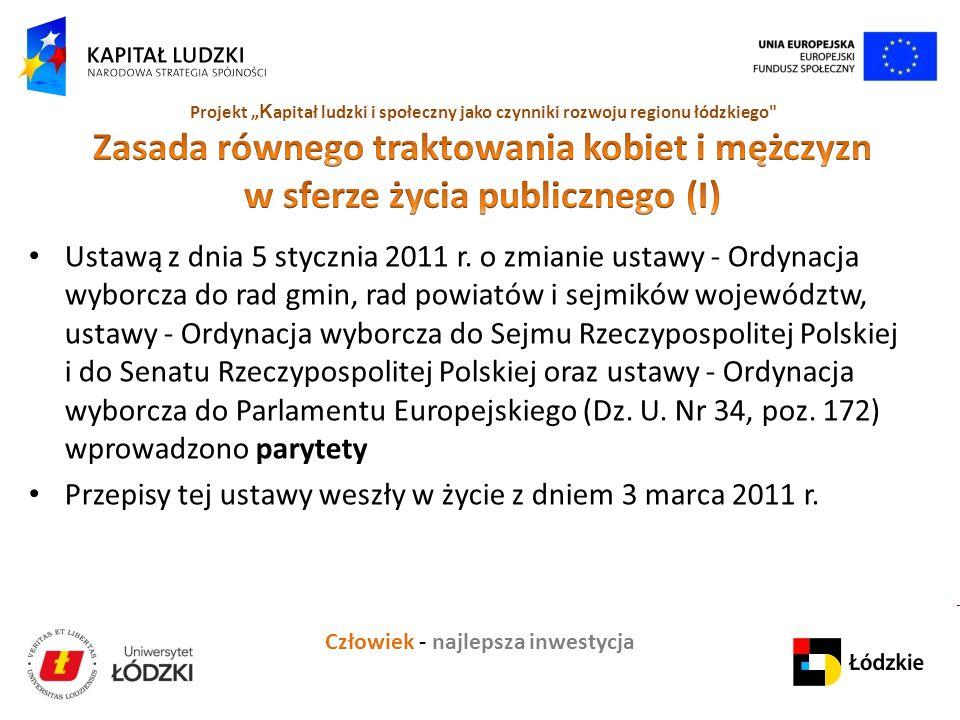 """Człowiek - najlepsza inwestycja Projekt """" K apitał ludzki i społeczny jako czynniki rozwoju regionu łódzkiego Ustawą z dnia 5 stycznia 2011 r."""