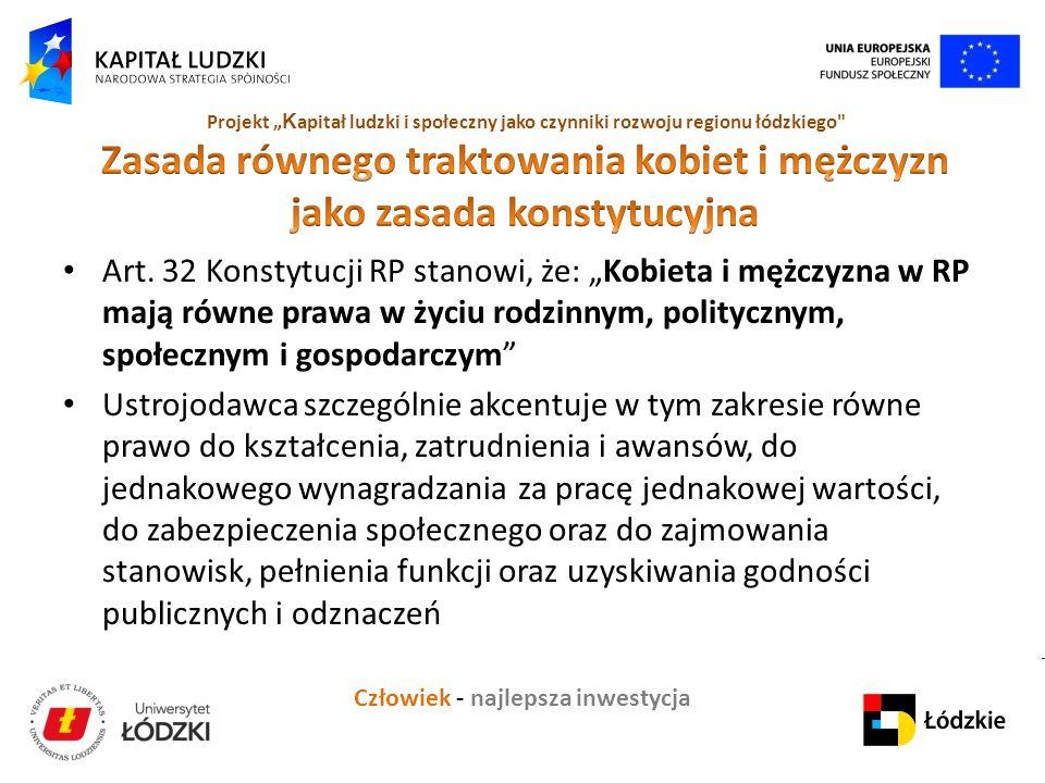 """Człowiek - najlepsza inwestycja Projekt """" K apitał ludzki i społeczny jako czynniki rozwoju regionu łódzkiego Art."""