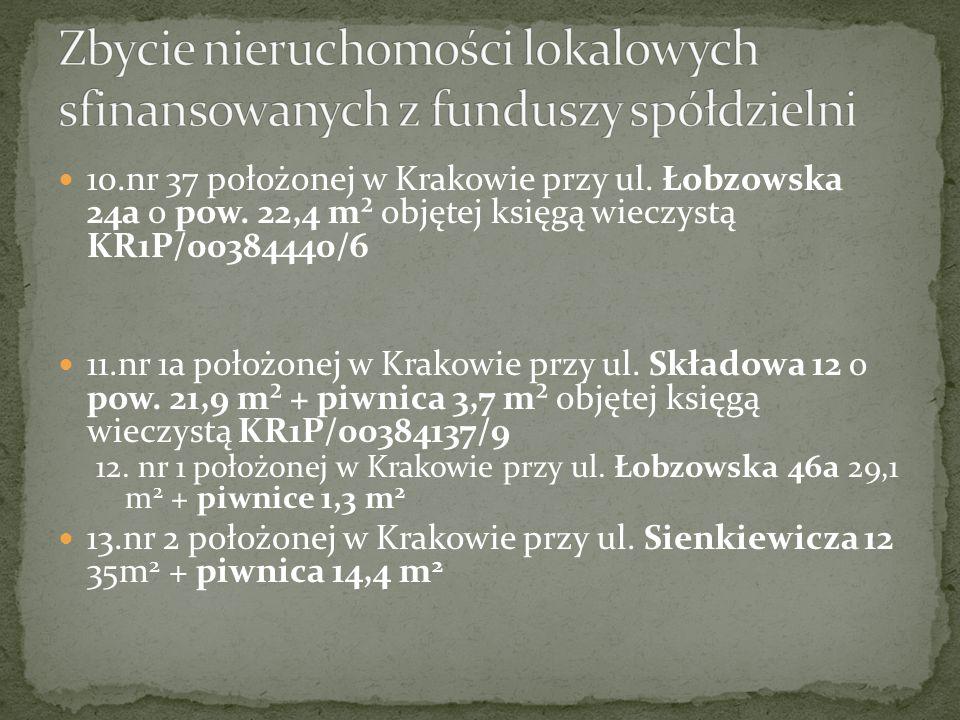 10.nr 37 położonej w Krakowie przy ul. Łobzowska 24a o pow.