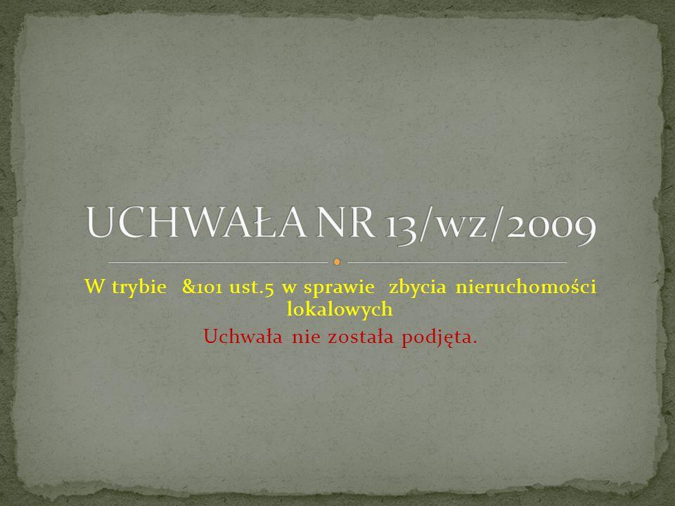 W trybie &101 ust.5 w sprawie zbycia nieruchomości lokalowych Uchwała nie została podjęta.