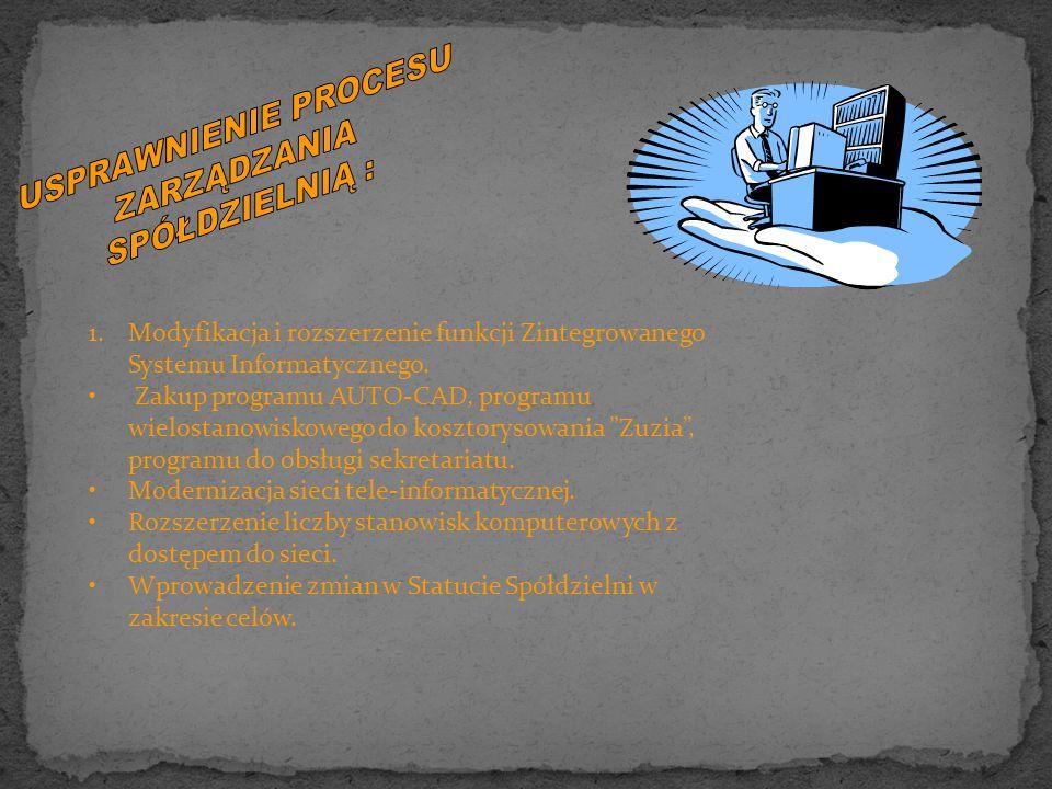 1.Modyfikacja i rozszerzenie funkcji Zintegrowanego Systemu Informatycznego.