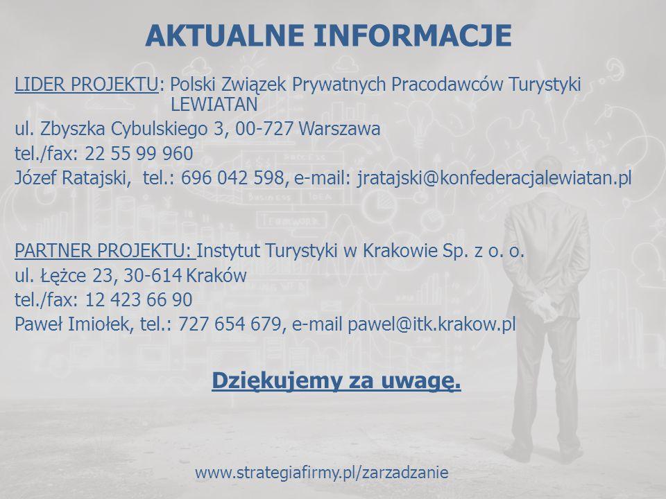 AKTUALNE INFORMACJE LIDER PROJEKTU: Polski Związek Prywatnych Pracodawców Turystyki LEWIATAN ul. Zbyszka Cybulskiego 3, 00-727 Warszawa tel./fax: 22 5