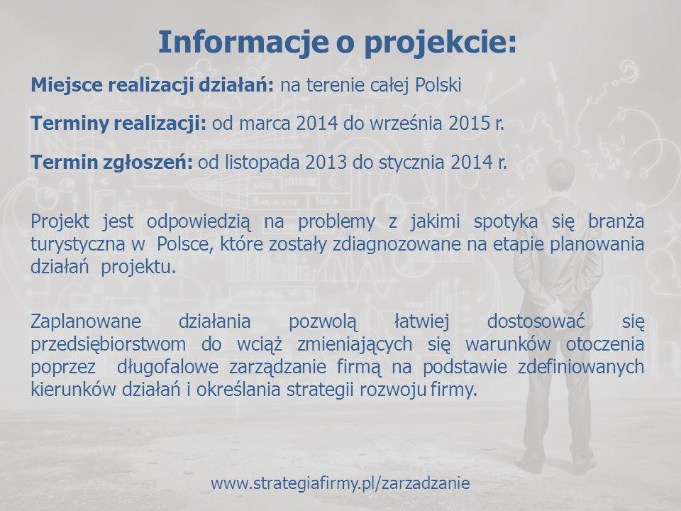 Informacje o projekcie: Miejsce realizacji działań: na terenie całej Polski Terminy realizacji: od marca 2014 do września 2015 r. Termin zgłoszeń: od