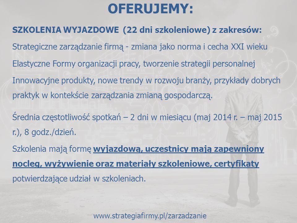OFERUJEMY: SZKOLENIA WYJAZDOWE (22 dni szkoleniowe) z zakresów: Strategiczne zarządzanie firmą - zmiana jako norma i cecha XXI wieku Elastyczne Formy