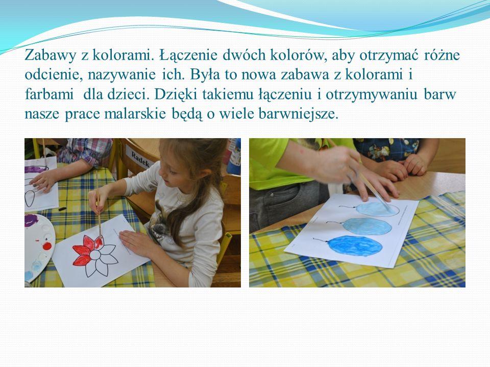 Zabawy z kolorami. Łączenie dwóch kolorów, aby otrzymać różne odcienie, nazywanie ich. Była to nowa zabawa z kolorami i farbami dla dzieci. Dzięki tak