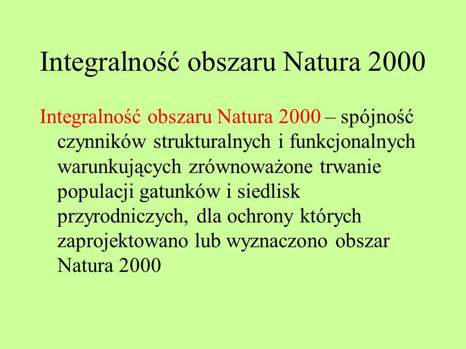 Integralność obszaru Natura 2000 Integralność obszaru Natura 2000 – spójność czynników strukturalnych i funkcjonalnych warunkujących zrównoważone trwa