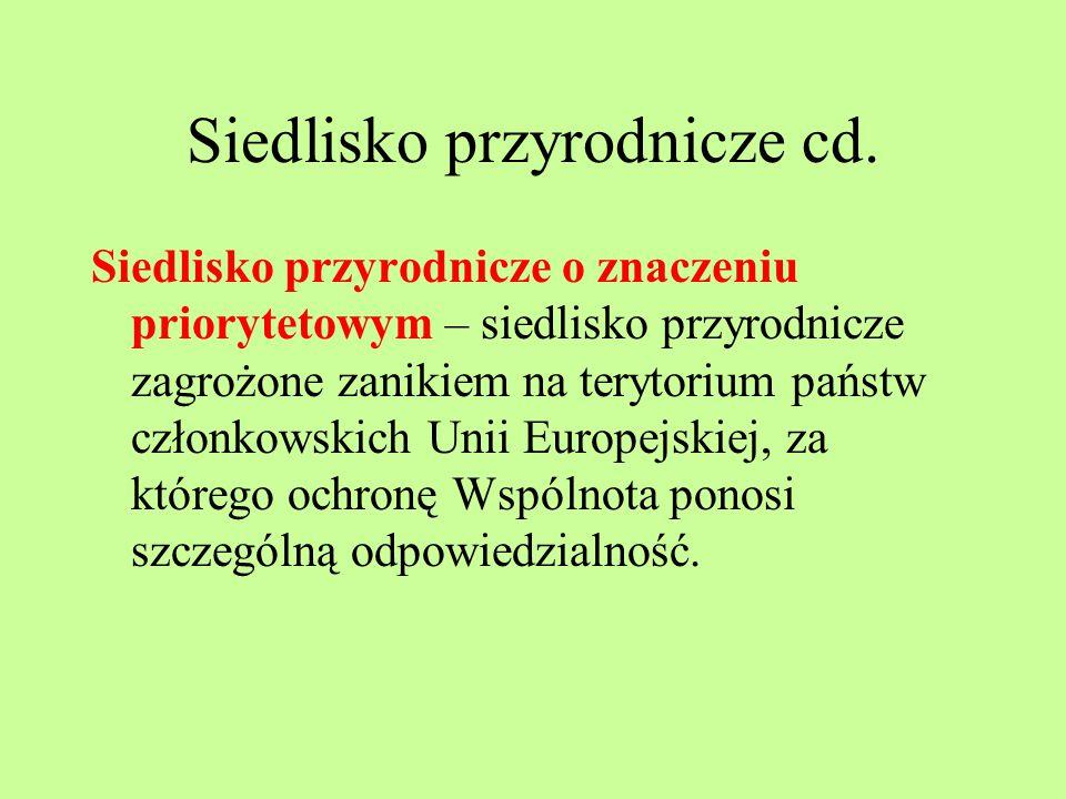 Siedlisko przyrodnicze cd. Siedlisko przyrodnicze o znaczeniu priorytetowym – siedlisko przyrodnicze zagrożone zanikiem na terytorium państw członkows