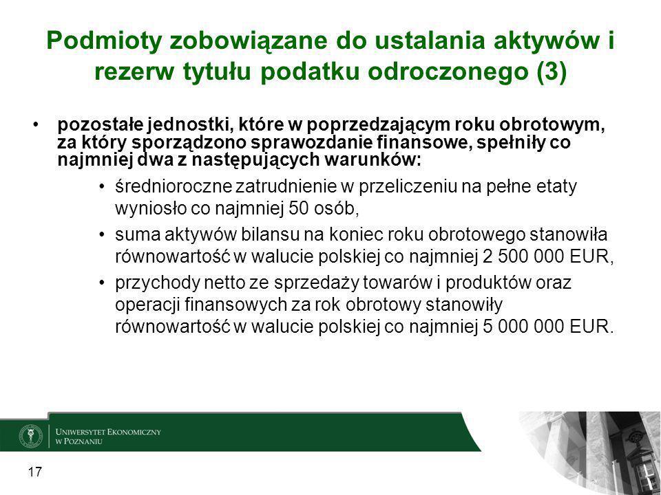 17 Podmioty zobowiązane do ustalania aktywów i rezerw tytułu podatku odroczonego (3) pozostałe jednostki, które w poprzedzającym roku obrotowym, za kt