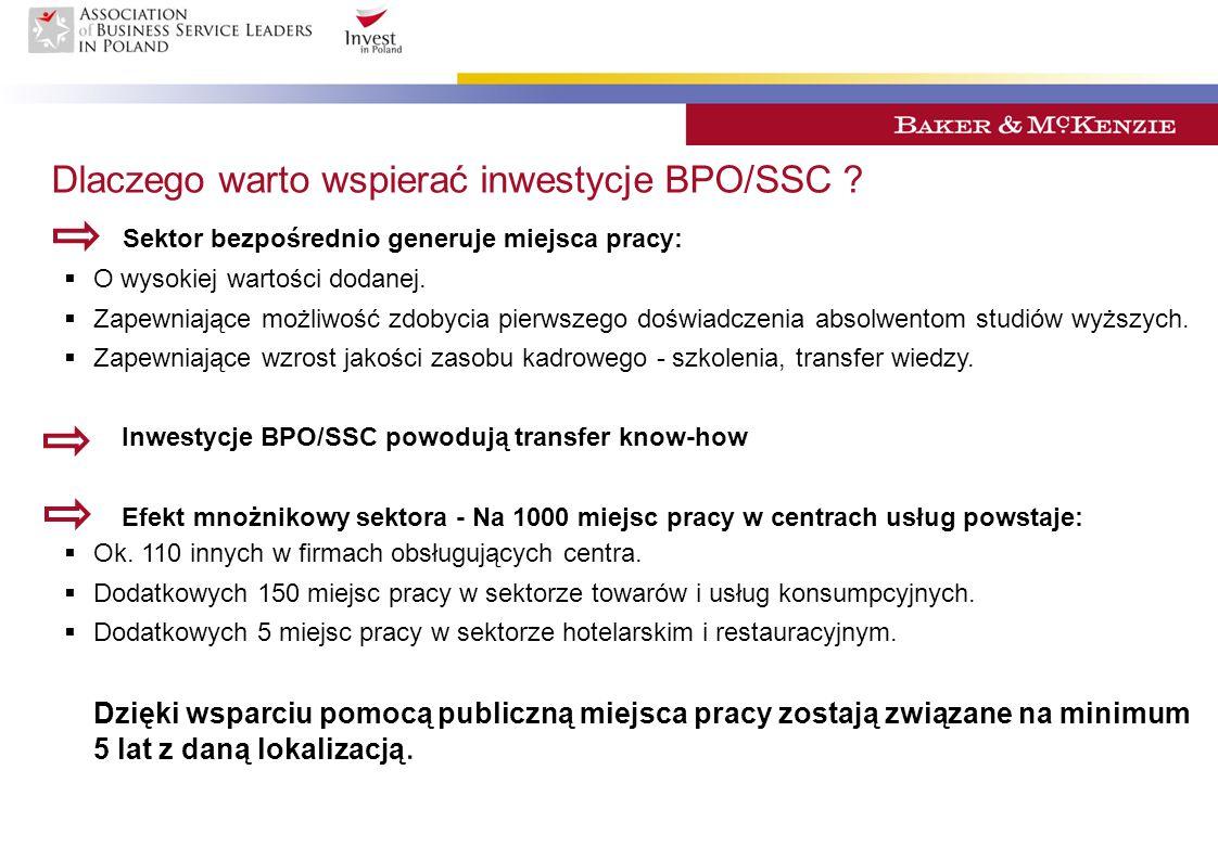 Dlaczego warto wspierać inwestycje BPO/SSC ? Sektor bezpośrednio generuje miejsca pracy:  O wysokiej wartości dodanej.  Zapewniające możliwość zdoby