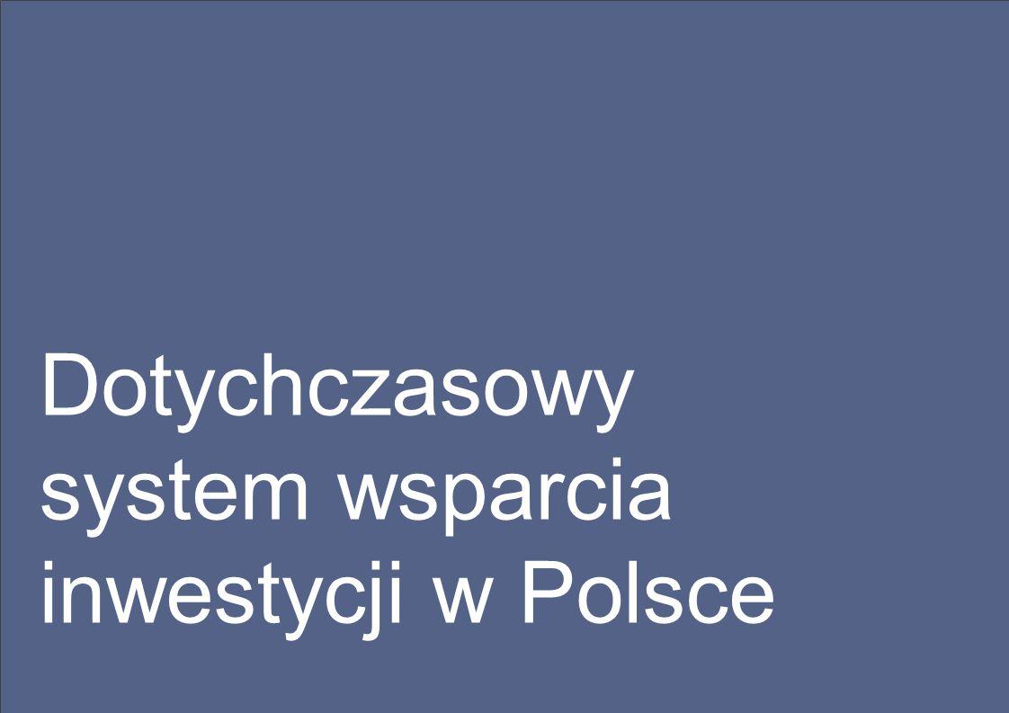 Dotychczasowy system wspierania inwestycji w Polsce Łączenie instrumentów umożliwiało dopasowanie wsparcia do wymagań konkretnego inwestora
