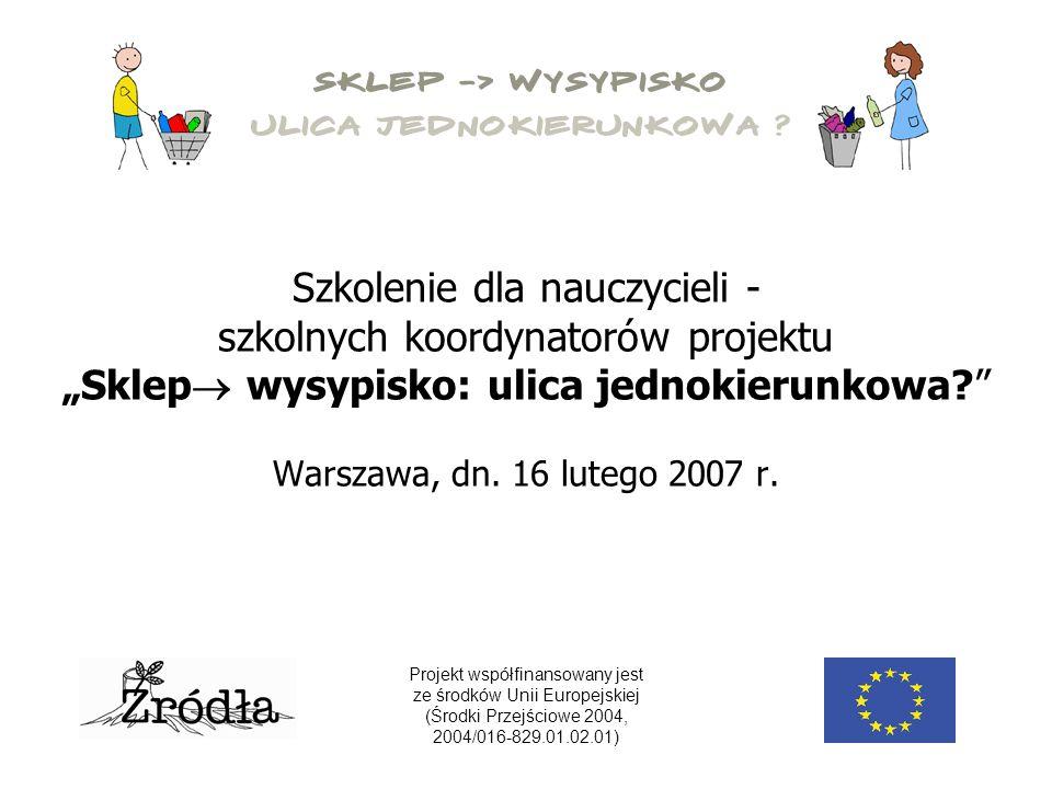 """Szkolenie dla nauczycieli - szkolnych koordynatorów projektu """"Sklep  wysypisko: ulica jednokierunkowa? Warszawa, dn."""