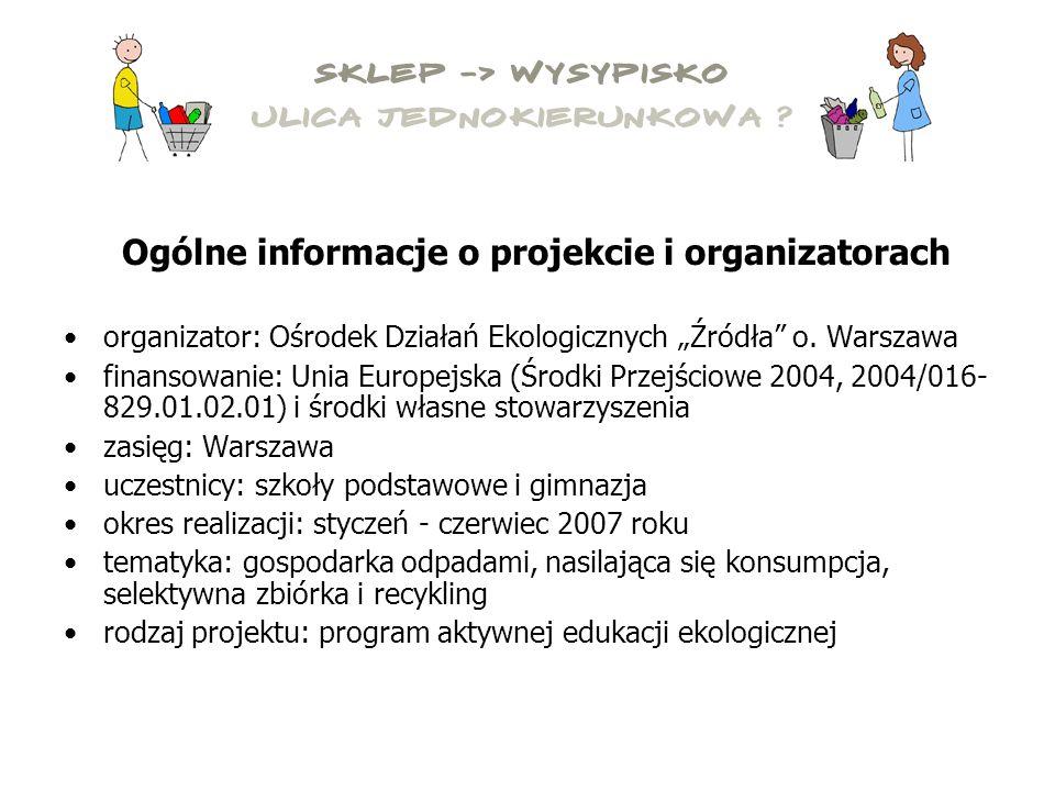 """Ogólne informacje o projekcie i organizatorach organizator: Ośrodek Działań Ekologicznych """"Źródła o."""