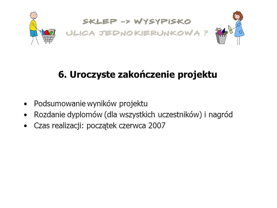 Podsumowanie wyników projektu Rozdanie dyplomów (dla wszystkich uczestników) i nagród Czas realizacji: początek czerwca 2007 6.