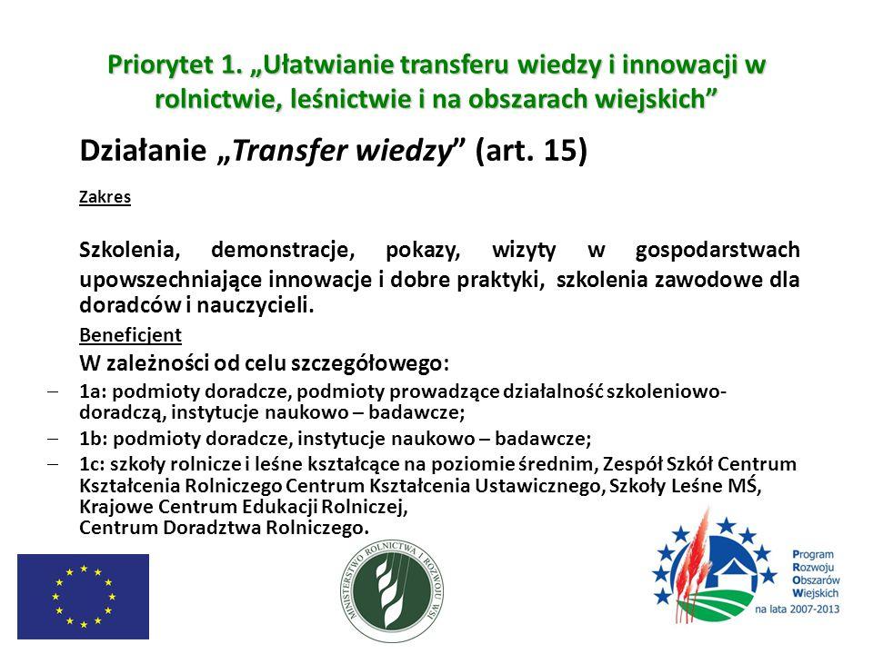 """Priorytet 1. """"Ułatwianie transferu wiedzy i innowacji w rolnictwie, leśnictwie i na obszarach wiejskich"""" Działanie """"Transfer wiedzy"""" (art. 15) Zakres"""