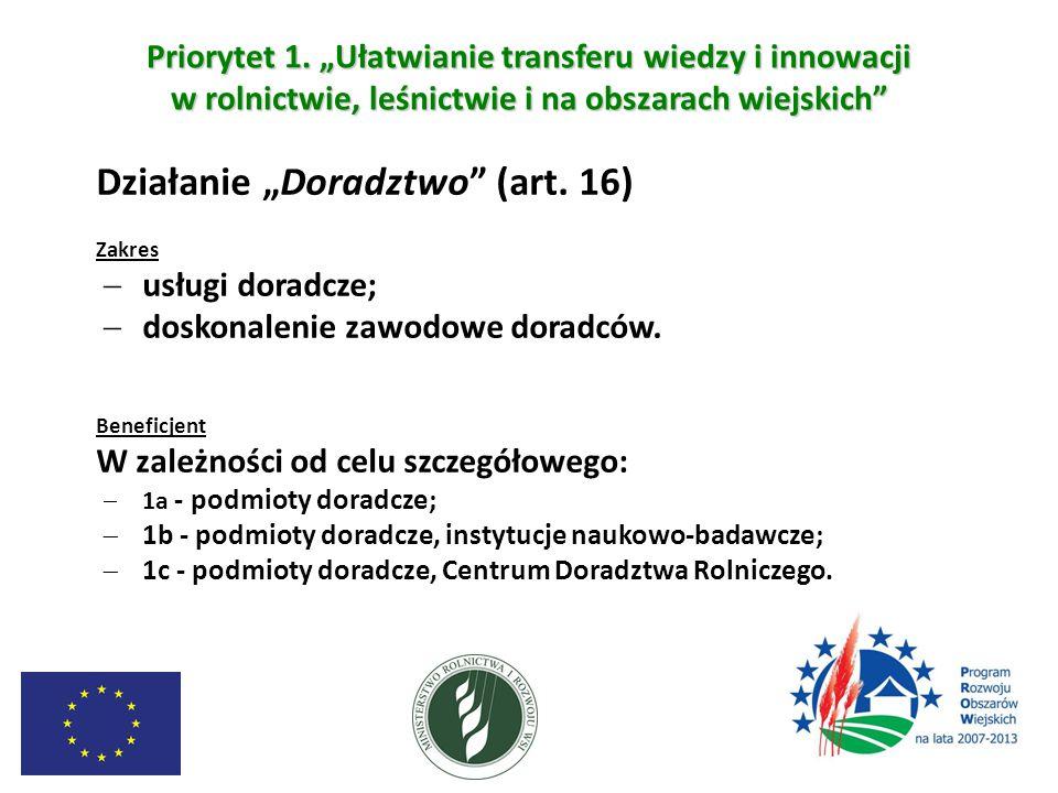 """Priorytet 1. """"Ułatwianie transferu wiedzy i innowacji w rolnictwie, leśnictwie i na obszarach wiejskich"""" Działanie """"Doradztwo"""" (art. 16) Zakres  usłu"""