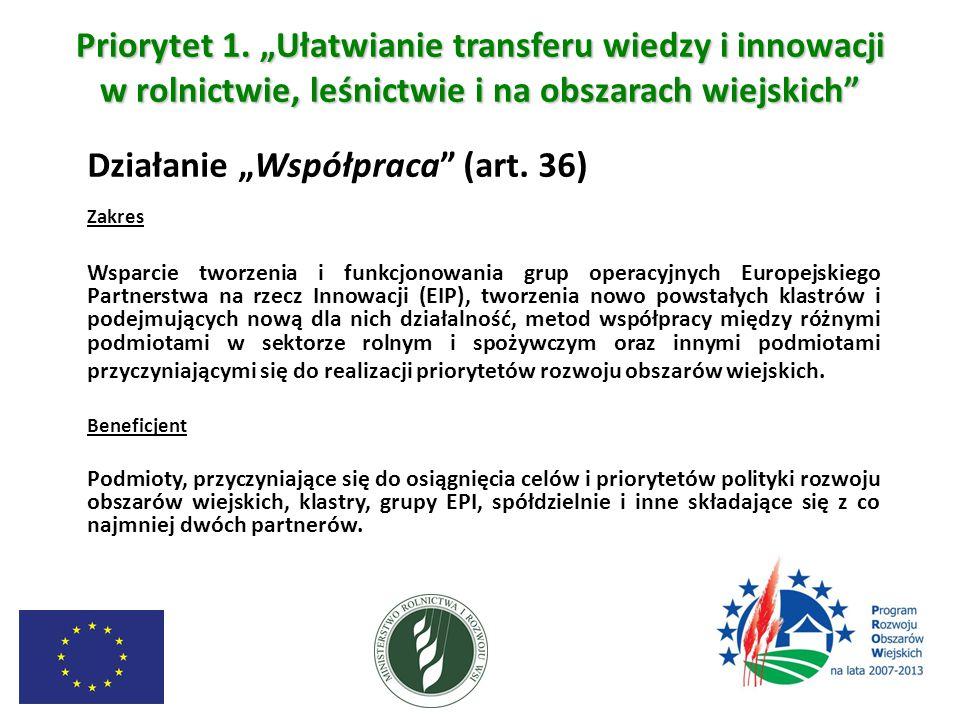 """Priorytet 1. """"Ułatwianie transferu wiedzy i innowacji w rolnictwie, leśnictwie i na obszarach wiejskich"""" Działanie """"Współpraca"""" (art. 36) Zakres Wspar"""