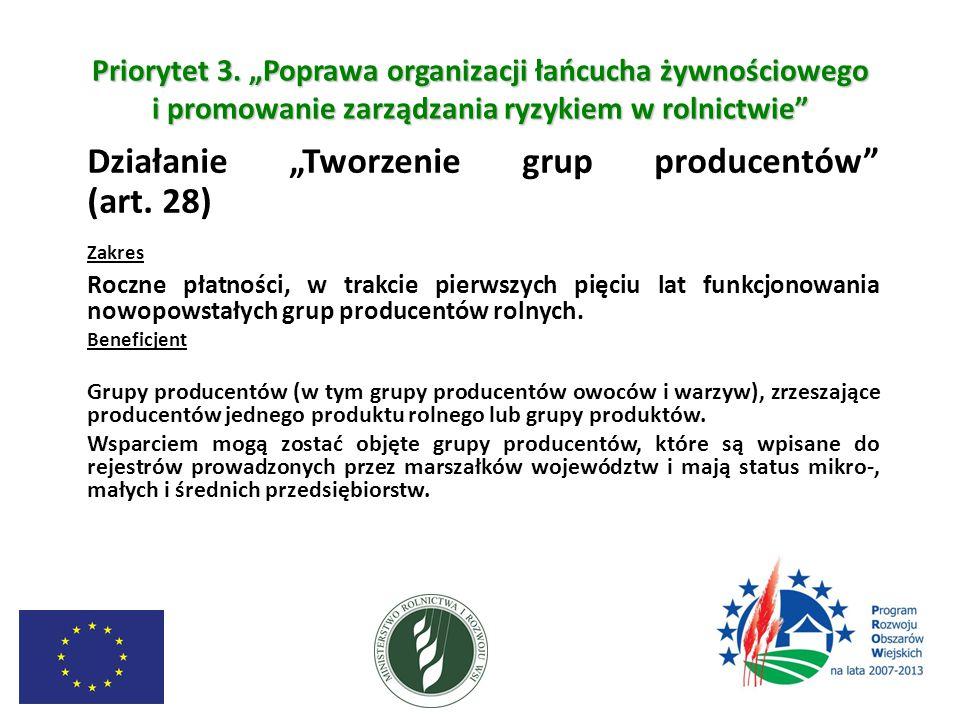 """Priorytet 3. """"Poprawa organizacji łańcucha żywnościowego i promowanie zarządzania ryzykiem w rolnictwie"""" Działanie """"Tworzenie grup producentów"""" (art."""
