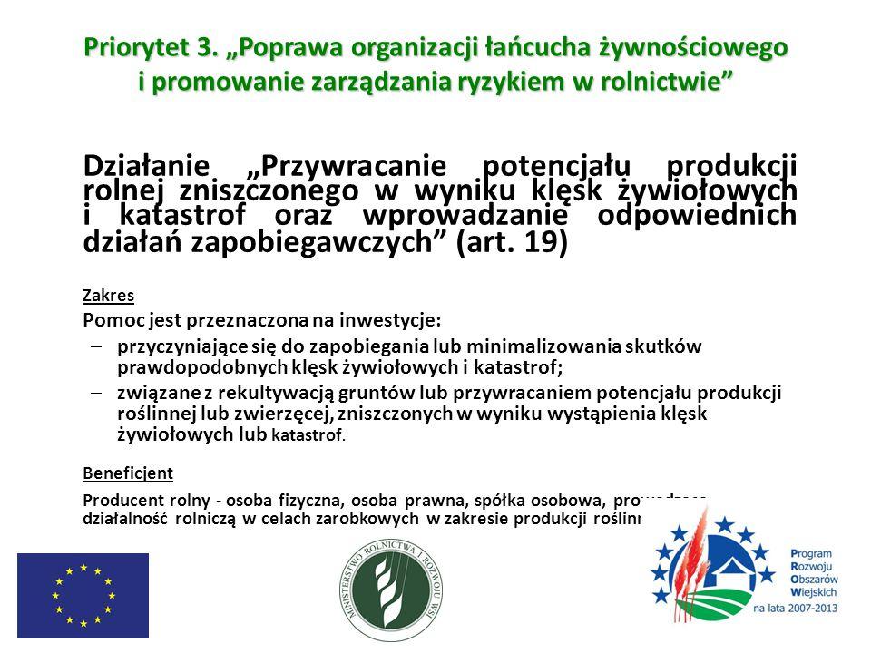 """Priorytet 3. """"Poprawa organizacji łańcucha żywnościowego i promowanie zarządzania ryzykiem w rolnictwie"""" Działanie """"Przywracanie potencjału produkcji"""