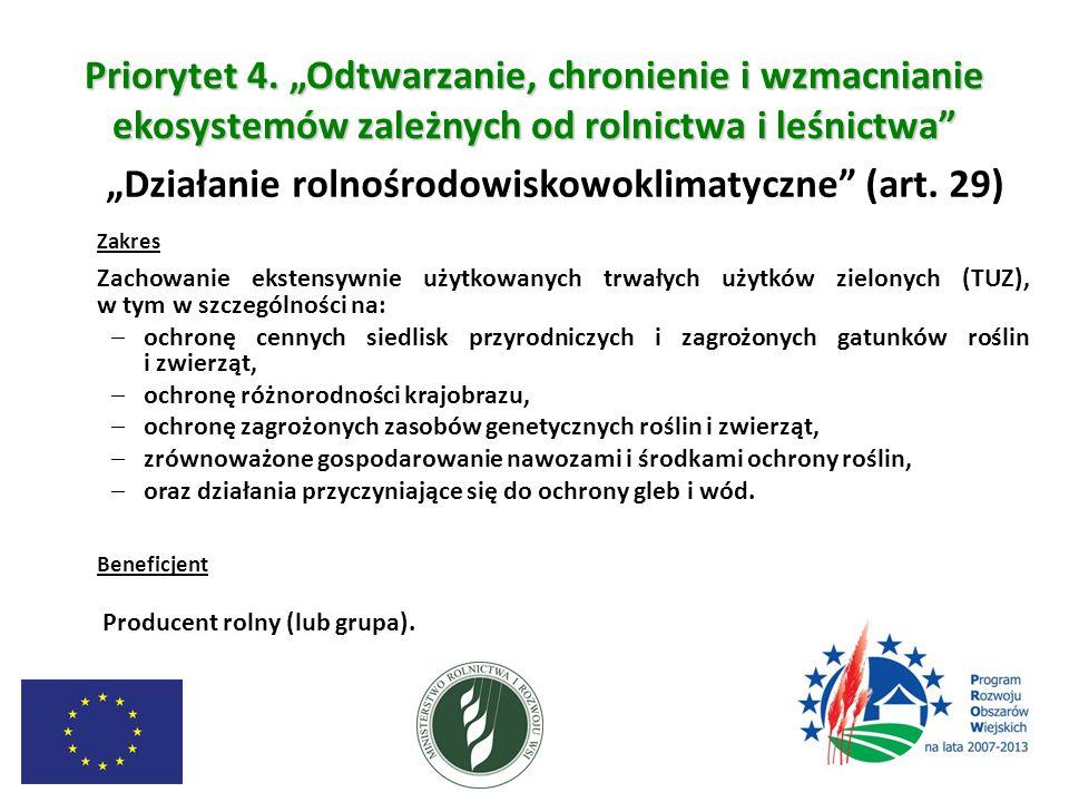 """Priorytet 4. """"Odtwarzanie, chronienie i wzmacnianie ekosystemów zależnych od rolnictwa i leśnictwa"""" """"Działanie rolnośrodowiskowoklimatyczne"""" (art. 29)"""