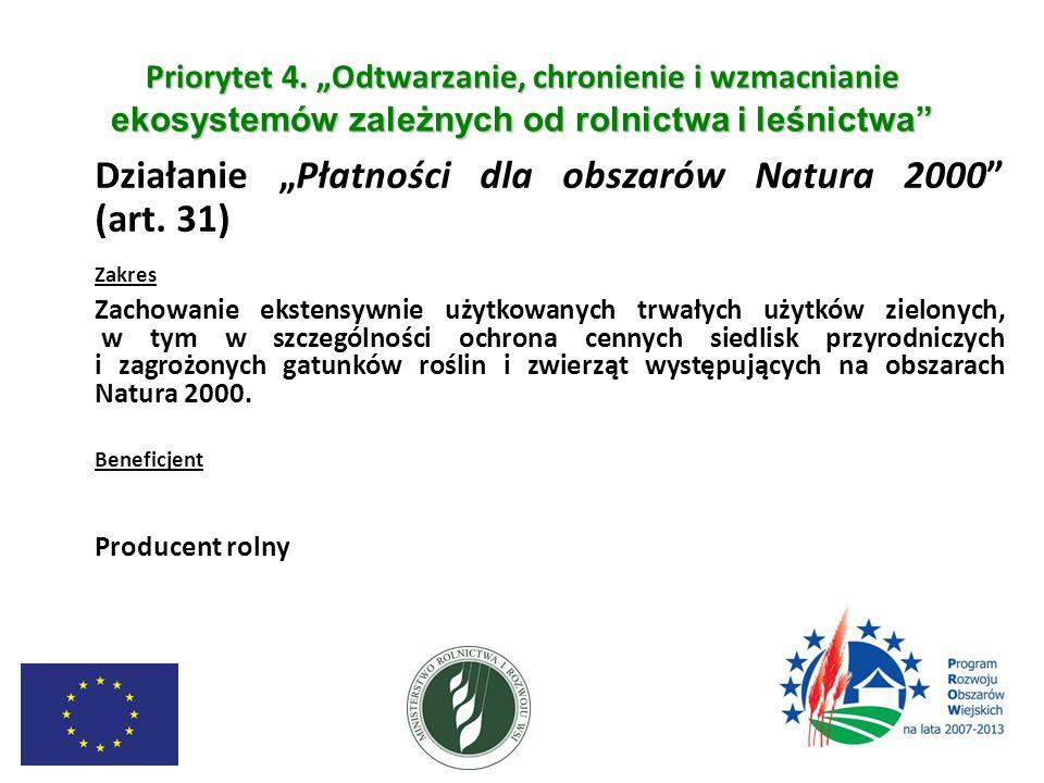 """Priorytet 4. """"Odtwarzanie, chronienie i wzmacnianie ekosystemów zależnych od rolnictwa i leśnictwa"""" Działanie """"Płatności dla obszarów Natura 2000"""" (ar"""