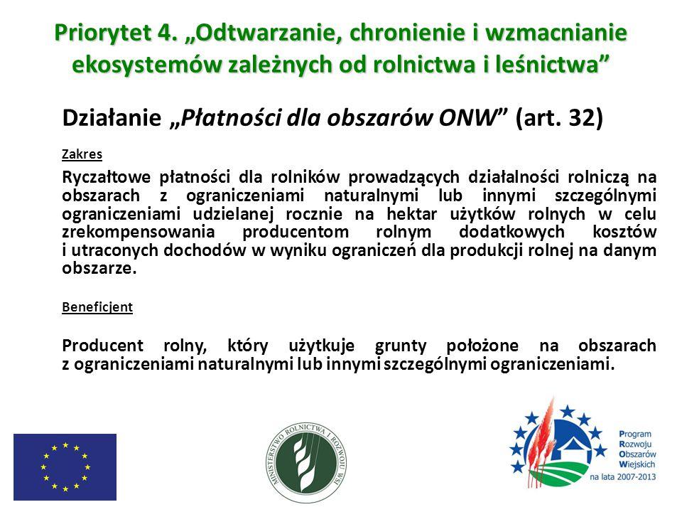 """Priorytet 4. """"Odtwarzanie, chronienie i wzmacnianie ekosystemów zależnych od rolnictwa i leśnictwa"""" Działanie """"Płatności dla obszarów ONW"""" (art. 32) Z"""