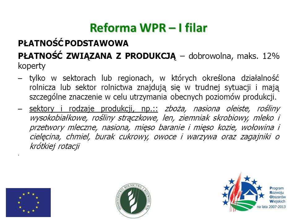 Reforma WPR – I filar PŁATNOŚĆ PODSTAWOWA PŁATNOŚĆ ZWIĄZANA Z PRODUKCJĄ – dobrowolna, maks. 12% koperty – tylko w sektorach lub regionach, w których o