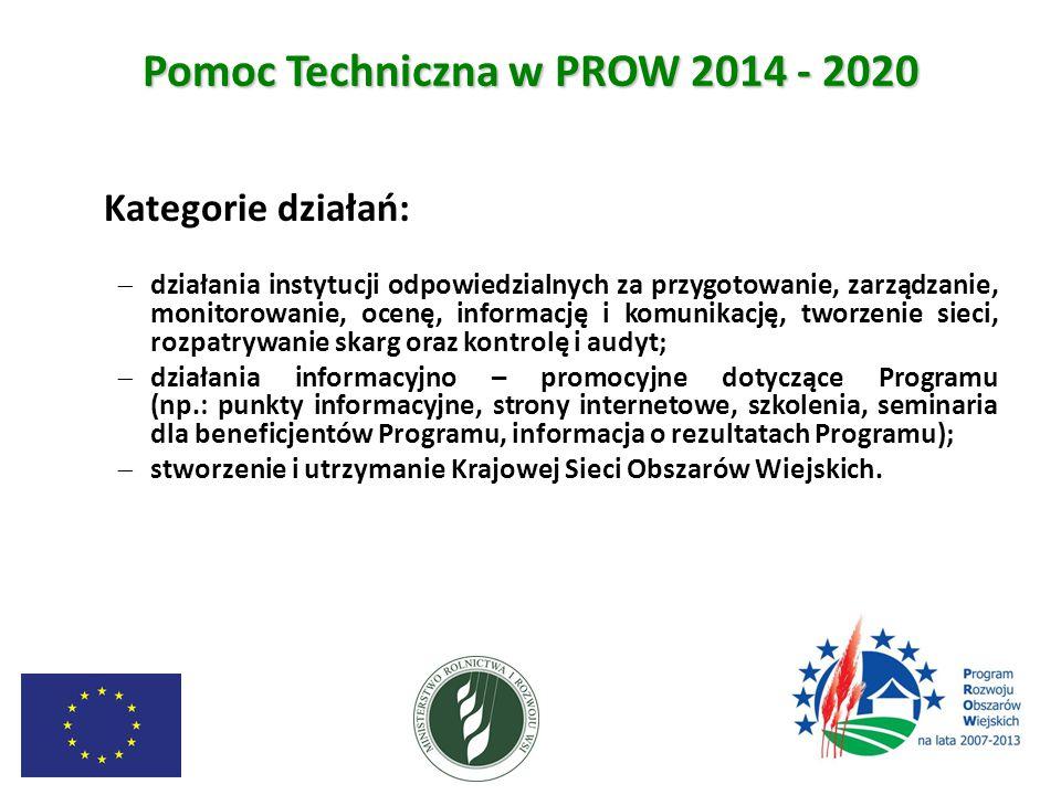 Pomoc Techniczna w PROW 2014 - 2020 Kategorie działań:  działania instytucji odpowiedzialnych za przygotowanie, zarządzanie, monitorowanie, ocenę, in