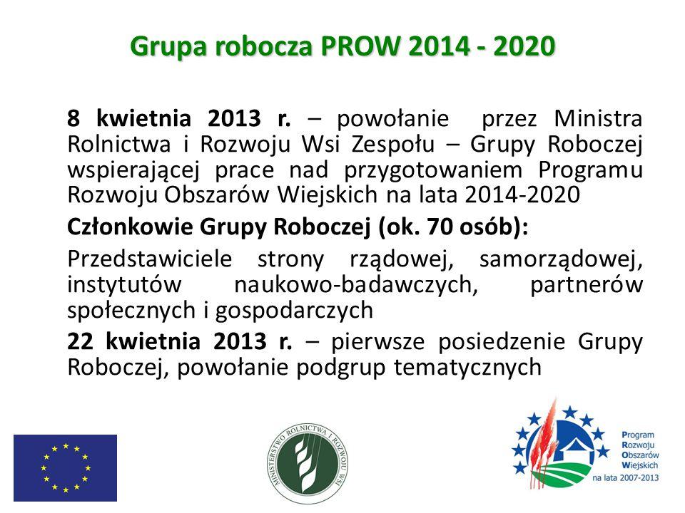 Grupa robocza PROW 2014 - 2020 8 kwietnia 2013 r. – powołanie przez Ministra Rolnictwa i Rozwoju Wsi Zespołu – Grupy Roboczej wspierającej prace nad p