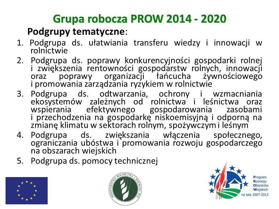 Grupa robocza PROW 2014 - 2020 Podgrupy tematyczne: 1. Podgrupa ds. ułatwiania transferu wiedzy i innowacji w rolnictwie 2.Podgrupa ds. poprawy konkur