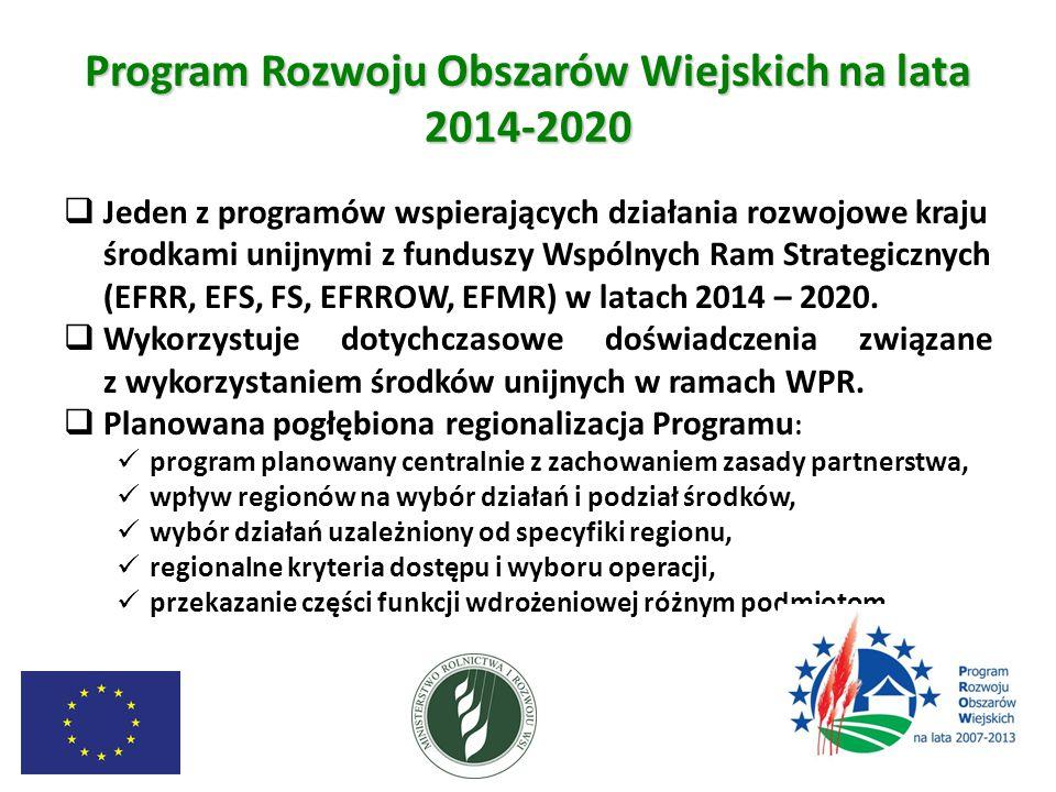 Program Rozwoju Obszarów Wiejskich na lata 2014-2020  Jeden z programów wspierających działania rozwojowe kraju środkami unijnymi z funduszy Wspólnych Ram Strategicznych (EFRR, EFS, FS, EFRROW, EFMR) w latach 2014 – 2020.