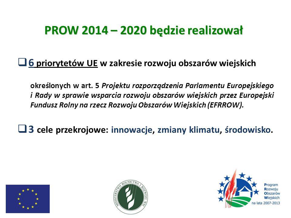 PROW 2014 – 2020 będzie realizował  6 priorytetów UE w zakresie rozwoju obszarów wiejskich określonych w art. 5 Projektu rozporządzenia Parlamentu Eu