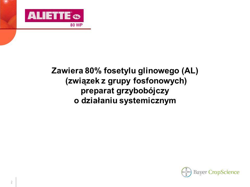 2 Zawiera 80% fosetylu glinowego (AL) (związek z grupy fosfonowych) preparat grzybobójczy o działaniu systemicznym 80 WP