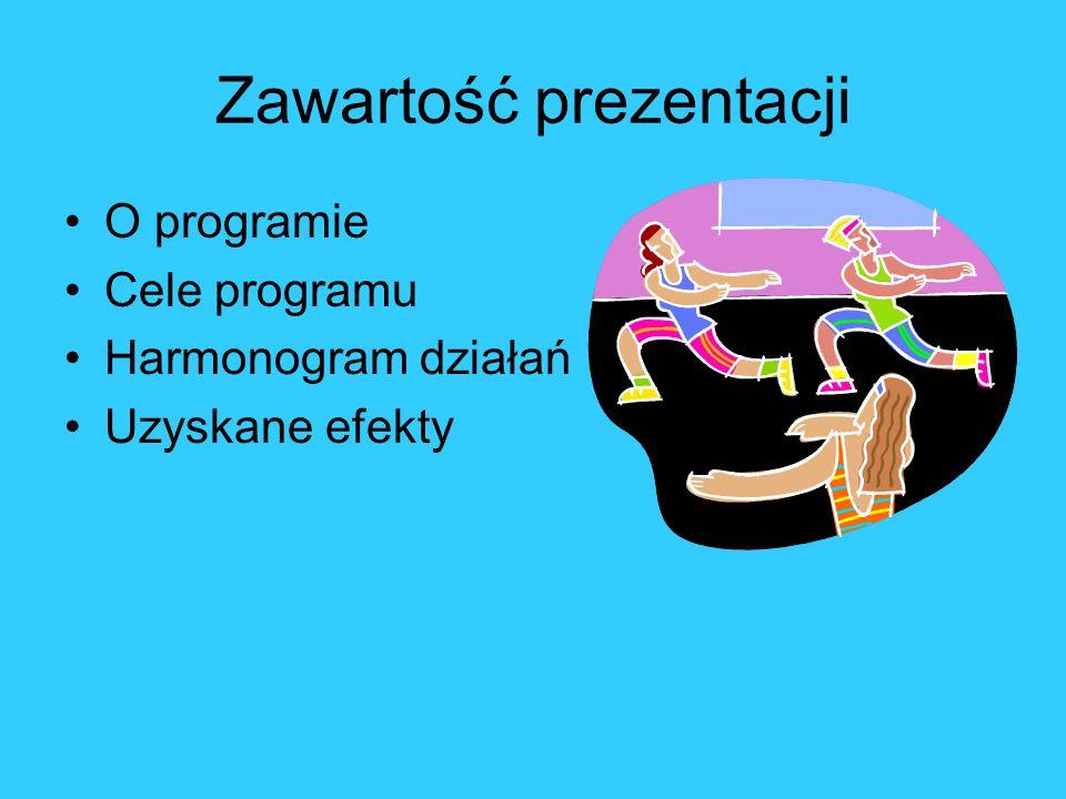 Zawartość prezentacji O programie Cele programu Harmonogram działań Uzyskane efekty
