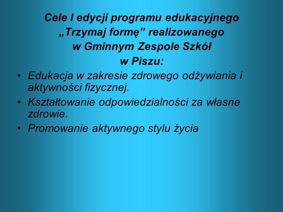 """Cele I edycji programu edukacyjnego """"Trzymaj formę"""" realizowanego w Gminnym Zespole Szkół w Piszu: Edukacja w zakresie zdrowego odżywiania i aktywnośc"""