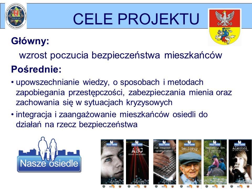 CELE PROJEKTU Główny: wzrost poczucia bezpieczeństwa mieszkańców Pośrednie: upowszechnianie wiedzy, o sposobach i metodach zapobiegania przestępczości