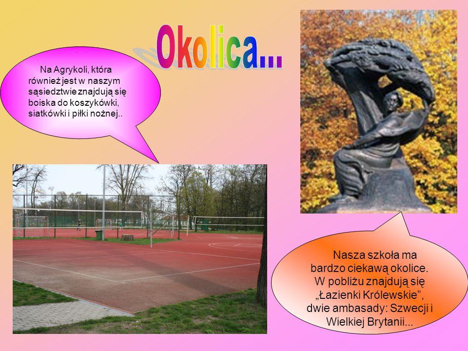Na Agrykoli, która również jest w naszym sąsiedztwie znajdują się boiska do koszykówki, siatkówki i piłki nożnej..