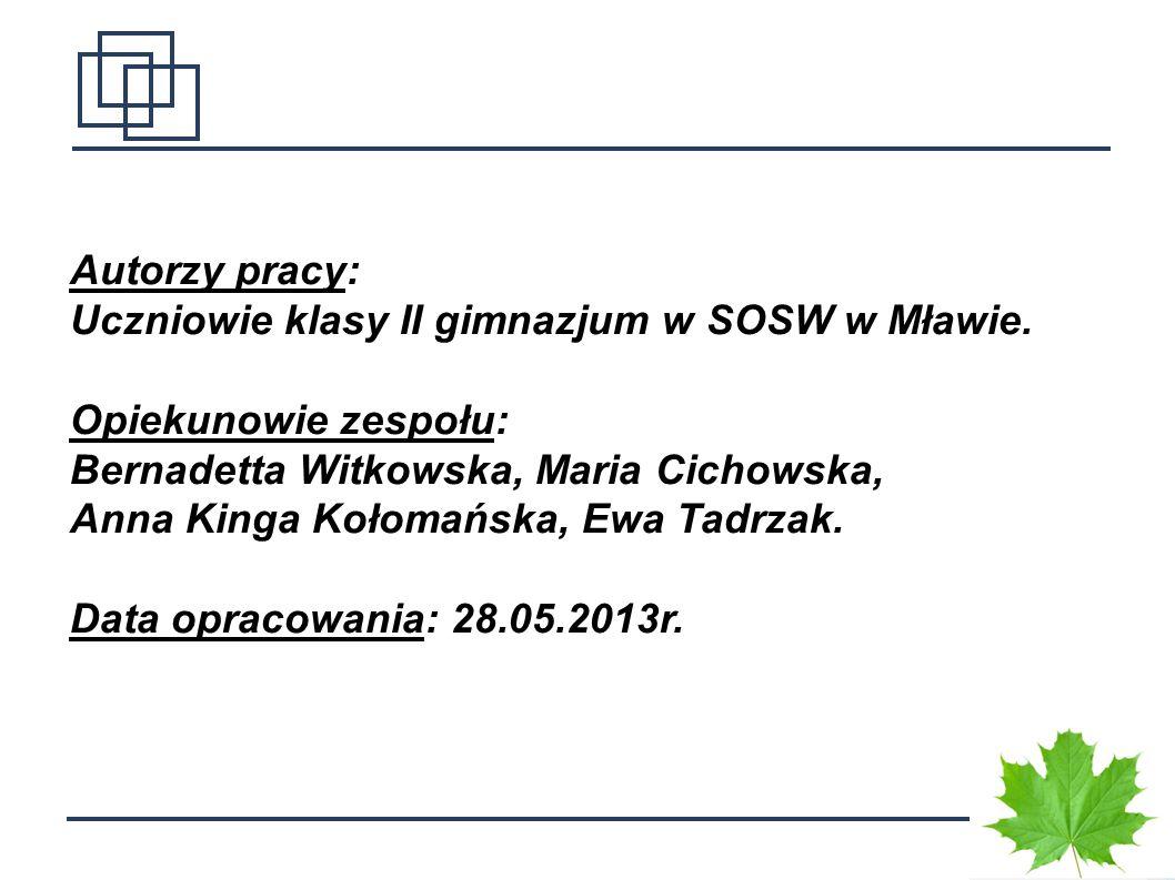 1 Autorzy pracy: Uczniowie klasy II gimnazjum w SOSW w Mławie. Opiekunowie zespołu: Bernadetta Witkowska, Maria Cichowska, Anna Kinga Kołomańska, Ewa
