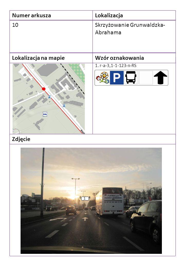 Numer arkuszaLokalizacja 10Skrzyżowanie Grunwaldzka- Abrahama Lokalizacja na mapieWzór oznakowania Zdjęcie 1. r-a-3,1-1-123-n-RS 1