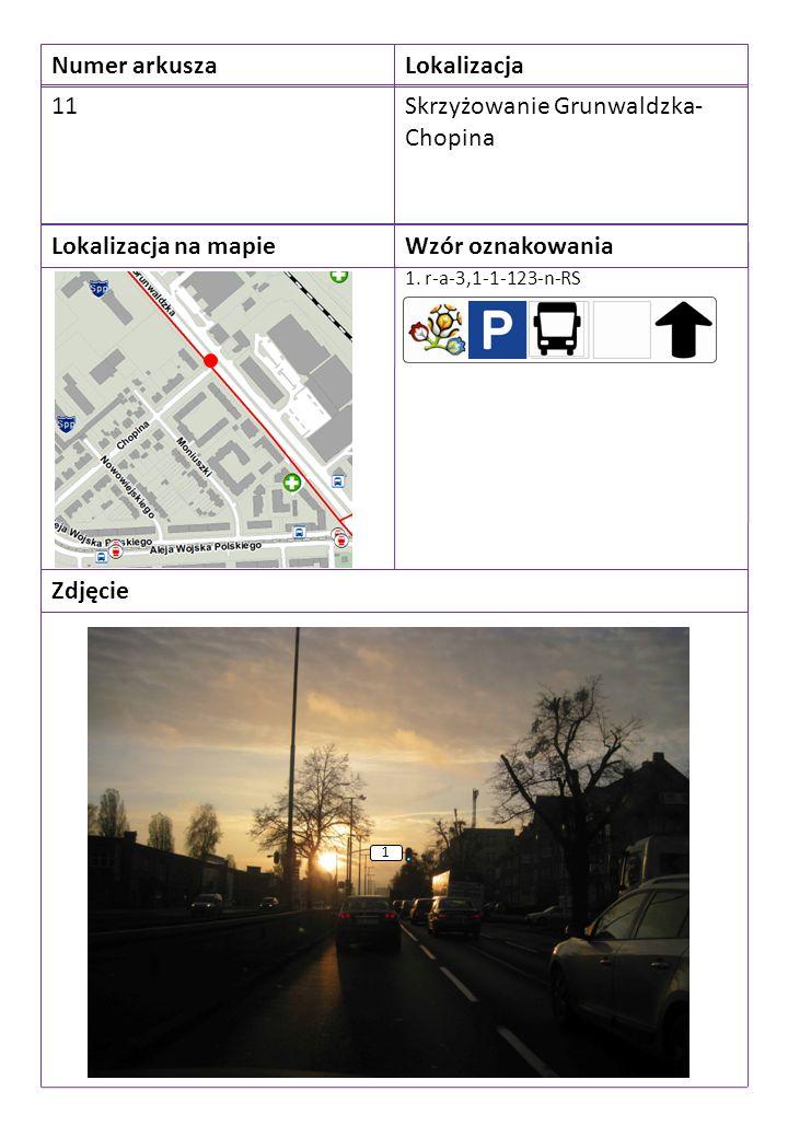 Numer arkuszaLokalizacja 11Skrzyżowanie Grunwaldzka- Chopina Lokalizacja na mapieWzór oznakowania Zdjęcie 1. r-a-3,1-1-123-n-RS 1