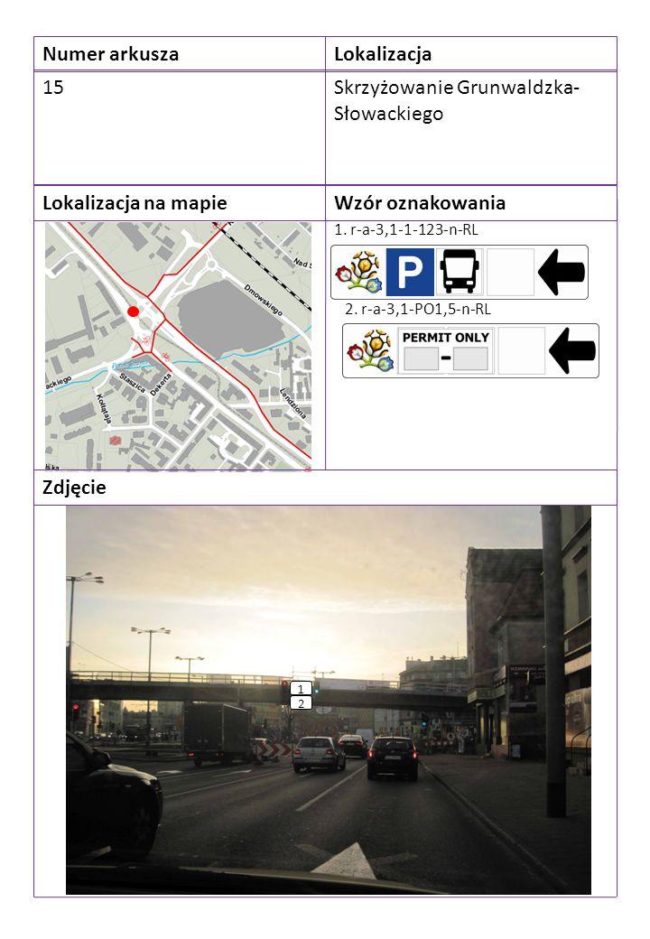 Numer arkuszaLokalizacja 15Skrzyżowanie Grunwaldzka- Słowackiego Lokalizacja na mapieWzór oznakowania Zdjęcie 1. r-a-3,1-1-123-n-RL 1 2. r-a-3,1-PO1,5